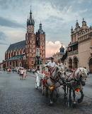 Market Square St Mary's Basilica Krakow Poland
