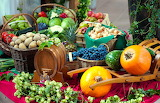Fruit, vegetables, wine, harvest, autumn