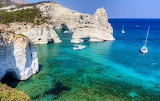 scenic view of yachts and cliffs in mediterranean sea