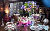 Flowers, style, tea, books, lamp, bouquet, kettle, window, plate