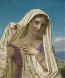 Young Gril in a Veil~ Hugues Merle (French)