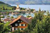 Swiss village by lake