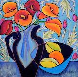 vase of arums, E.Boughner
