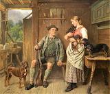 Adolf Eberle-Maid huntsman and dachshund family