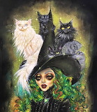 Halloween witch and cats