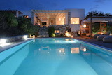 Luxury Paros Villa, garden and pool at night