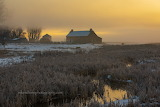 Farm west of Missoula Montana foggy sunrise