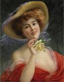 Fille a la Rose Jaune by Emile Vernon