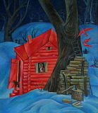 Red Log Cabin 1975 by Anatoly Kulinich