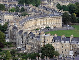 ^ Royal Crescent aerial view, Bath, England