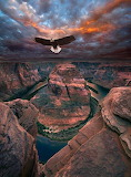 Eagle flight over Red Rock mountains