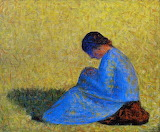 Georges Seurat, Peasant Woman Seated in the Grass , 1883