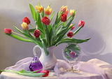 Flowers, bouquet, perfume, mirror, tulips, pitcher, fabric