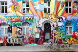 Facade, door, windows, graffiti, painted wall
