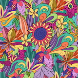 Colourful flower doodles