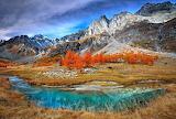 Mountains, river, vegetation, nature, autumn, colorful landscape