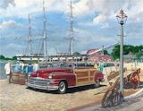 Vintage car down at the docks by Harry Anderson