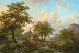 Frederik Marinus Kruseman Summer Landscape with Animals and Chur