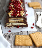 Chocolate pomegranate cookie torte