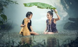 woman+child and rain