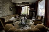 Grass growing in abandoned living room