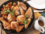 ^ Crisp-Skinned Chicken and Roast Vegetables