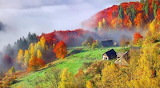 Autumn, mountain, farm, barn, forest, trees, fog