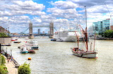 Boat Traffic on the Thames London England