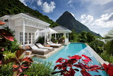 Traditional style white villa, St. Lucia, Sugar Beach, Caribbean