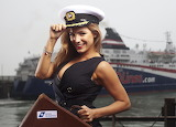 Ship, Kelly Brook, actress, beauty, suitcase, cap, uniform