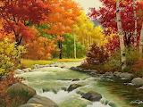 Autumn landscape painting river wood