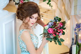Girl, flowers, bouquet, blue dress, hairstyle, brown hair