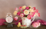 Flowers, cookies, alarm clock, tulips, still life, marmalade, cl