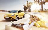 Car, sea, girl, boy, man, woman, sun, joy, yellow, smile, shore,