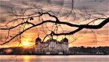 Sunset behind German palace