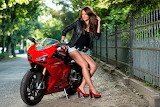 Girl on a Ducati motorcycle