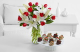 Flowers And Strawberries In Chocolate