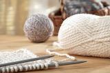 Gray and white knitting