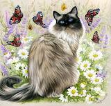 Cat and butterflies by Garmashova