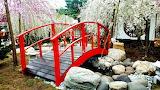 red garden bridge