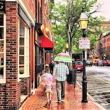 Rain cobblestone sidewalks Boston