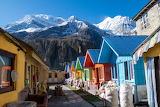 Chalets de montagne colorés
