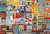 little town, wall hanging