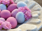 Easter, sugar eggs, plate, flowers, pink color