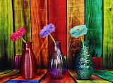 Floreros y flores