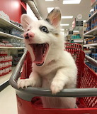 Happy dog in shopping cart