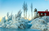 sea and lighthouse in winter