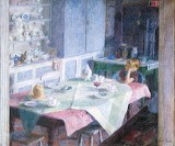 Dod Procter, Kitchen at Myrtle Cottage, ca1930–5
