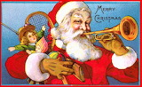 Santa Playing Trumpet late 1800s
