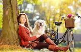Girl, nature, bike, dog